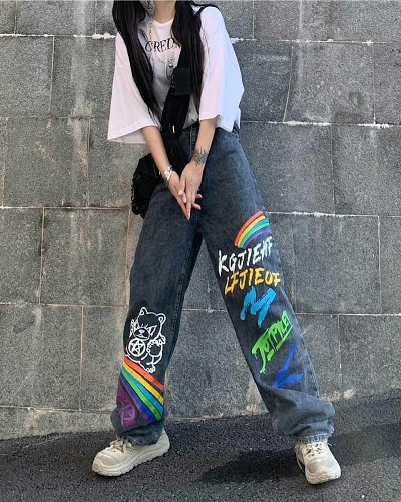 Female Loose Streetwear Graffiti Print Pants