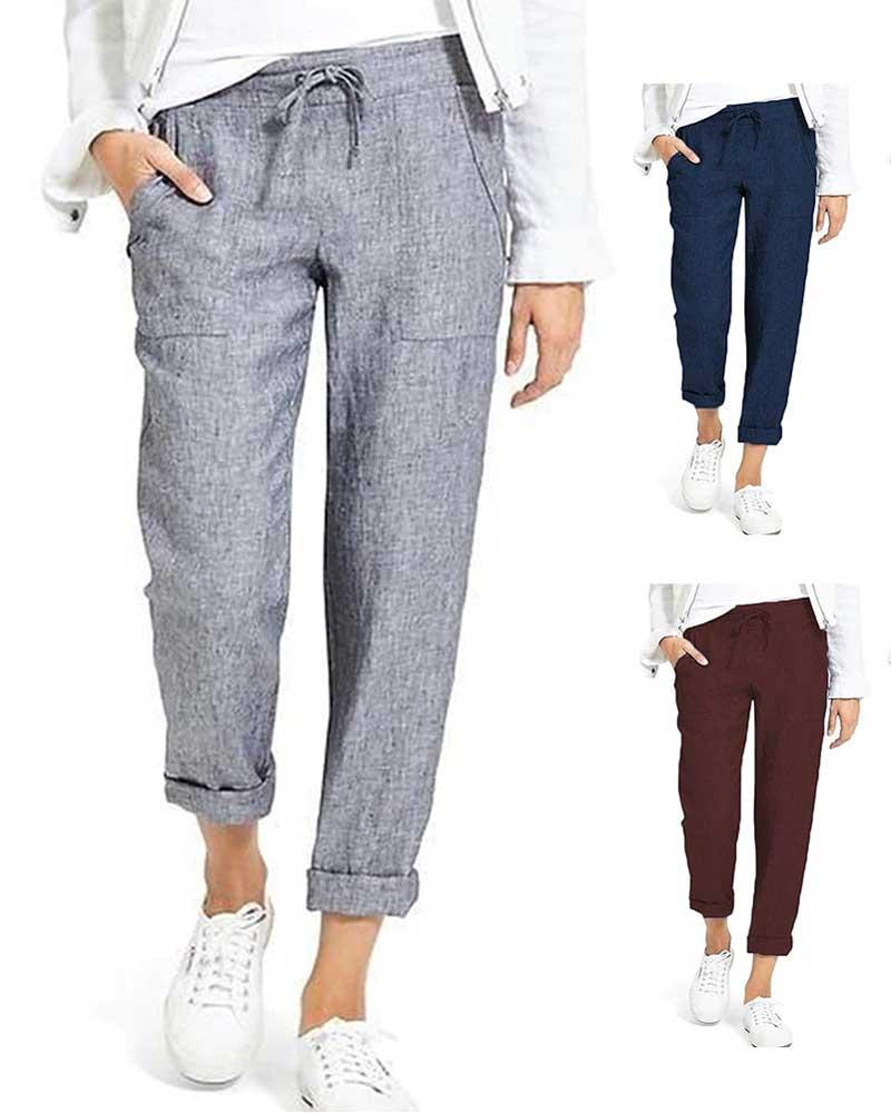 New Cotton Linen Pants Women Trousers