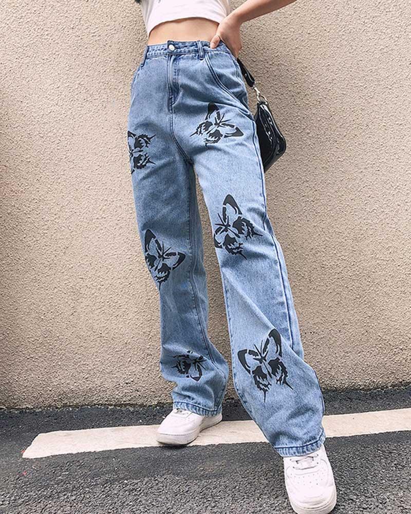 Print Butterfly Straight Jeans High Waist