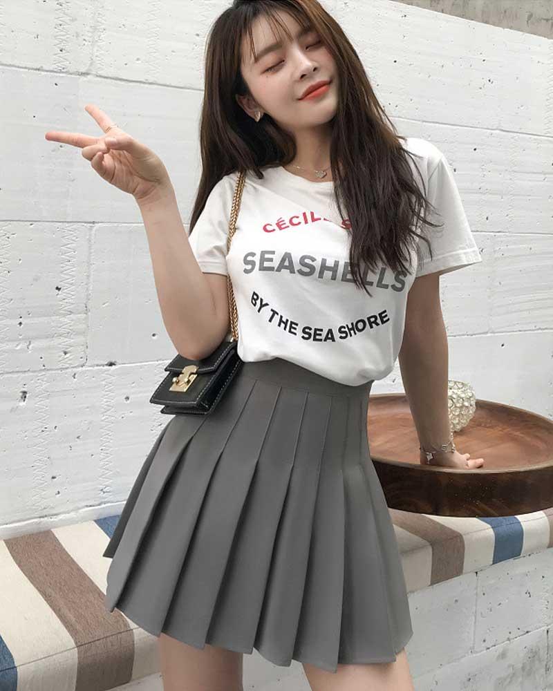 Satin Skirt summer High Waist Pleated Mini Skirt