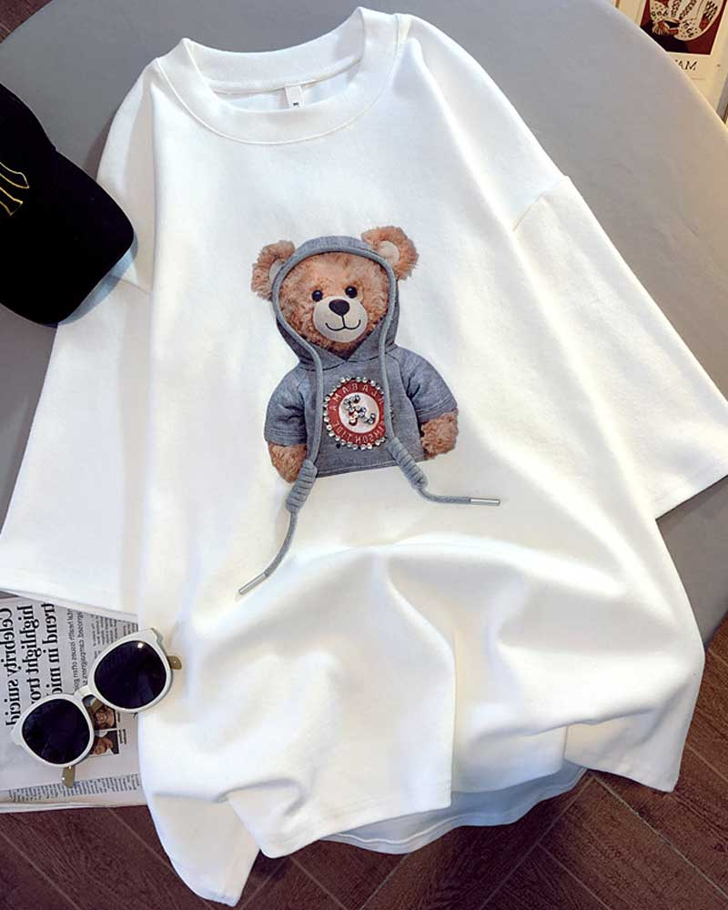 Short-sleeved Print Bear Korean Version