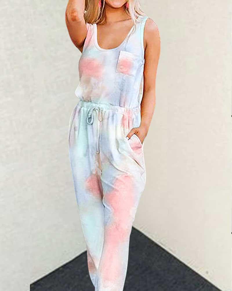 Tie Dye Women Set Sexy O Neck Sleeveless