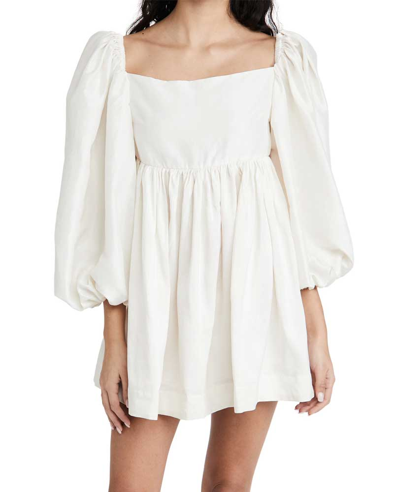 White Dress For Girls Cotton Elegant Square Collar