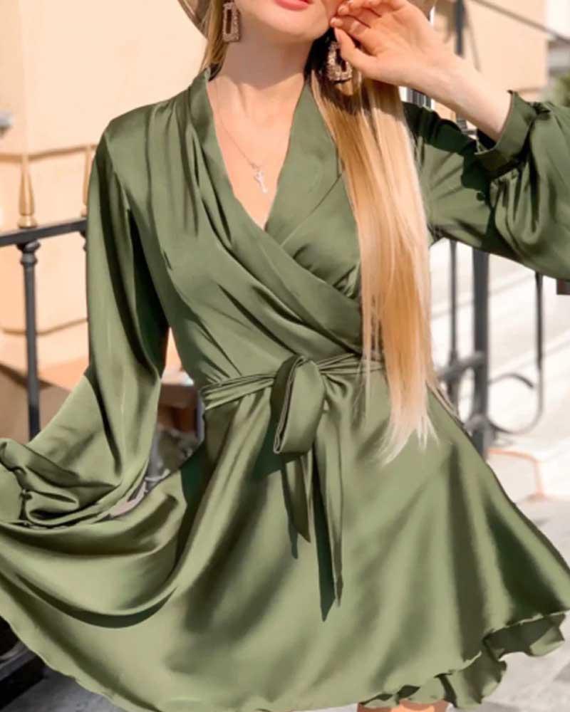 Women Sexy V-Neck Slip Dress Satin Elegant