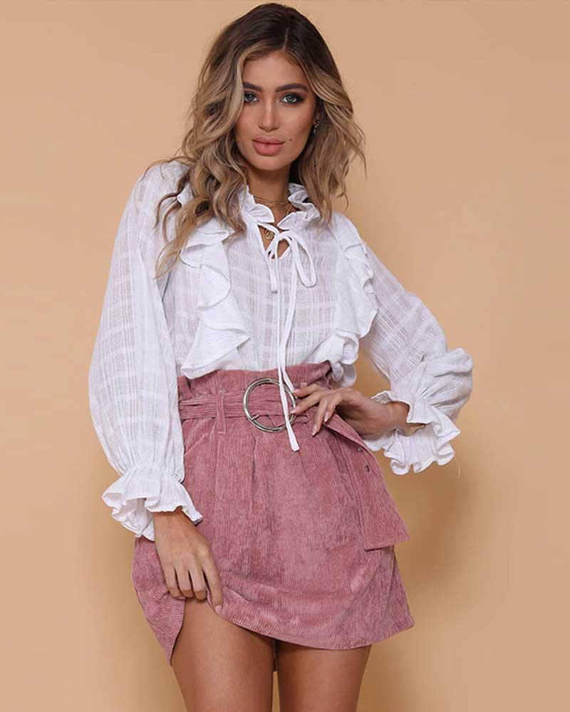 Women Vintage High Waist Skirt