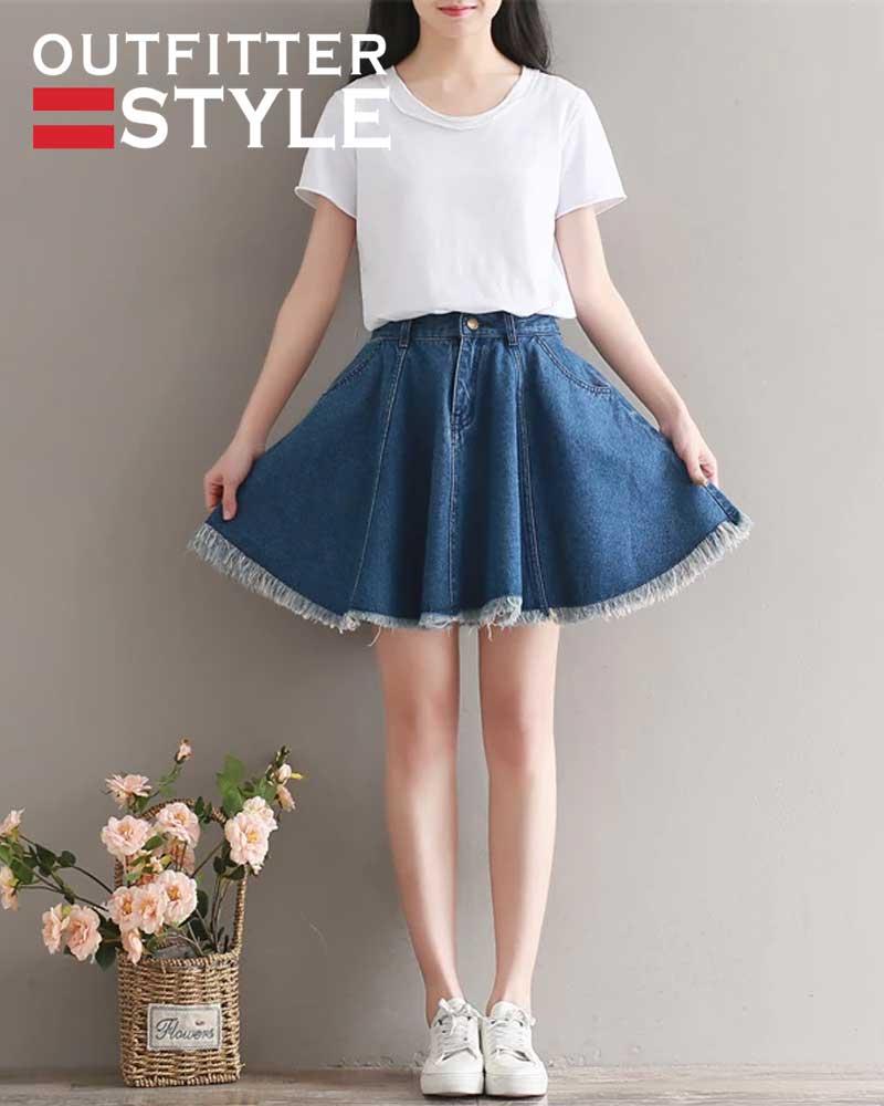 Blue Short Denim Skater Skirts