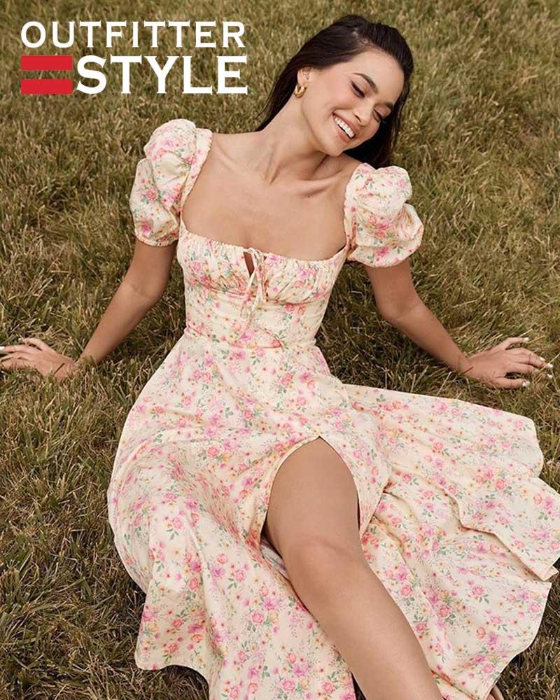 Boho Print Slit Maxi Dress
