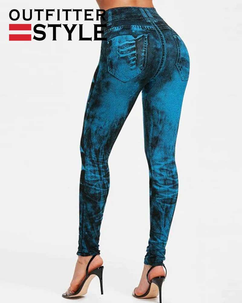 Denim Jeans Leggings Pocket Printing