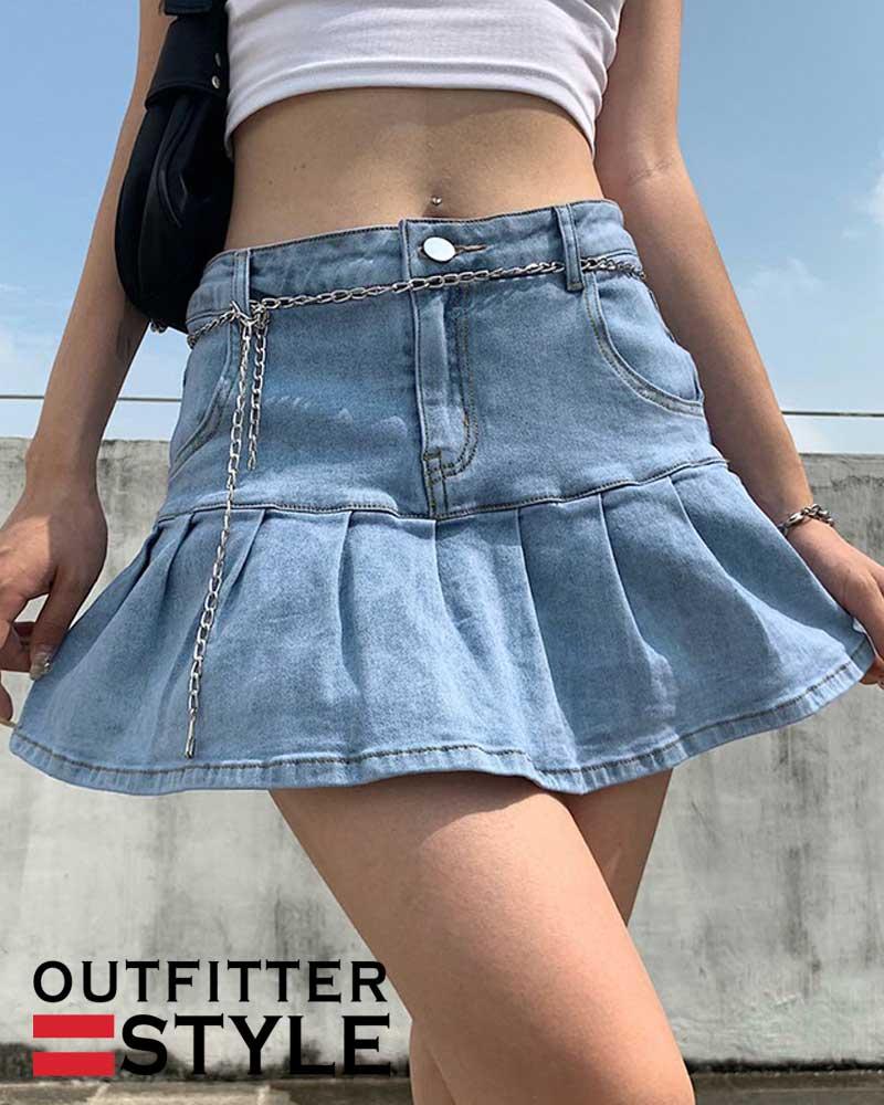 Denim Mini Pleated Skirt