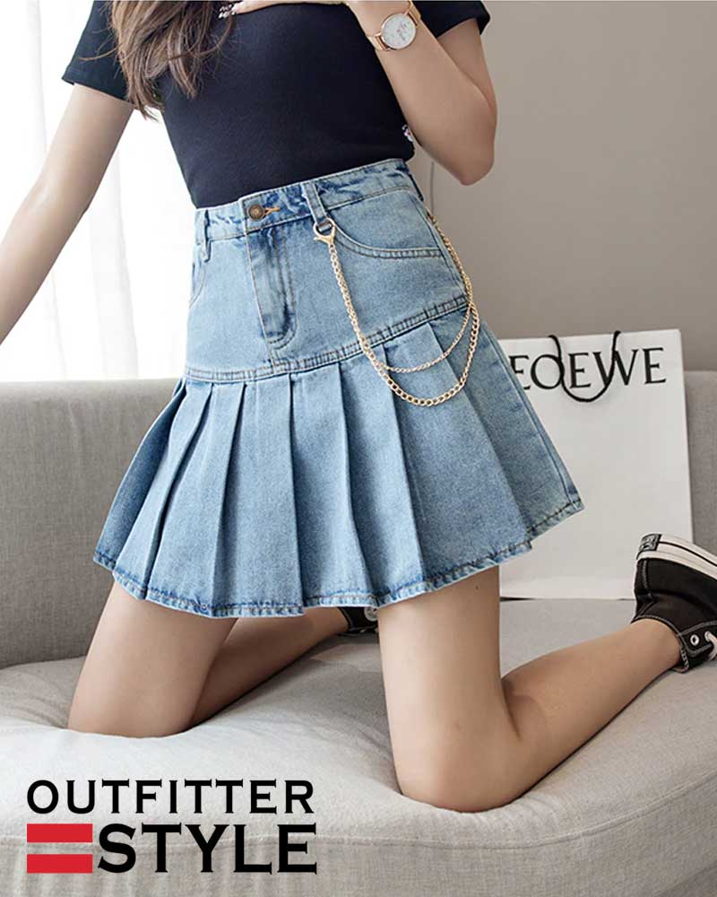 Denim Pleated Skirts With Chain