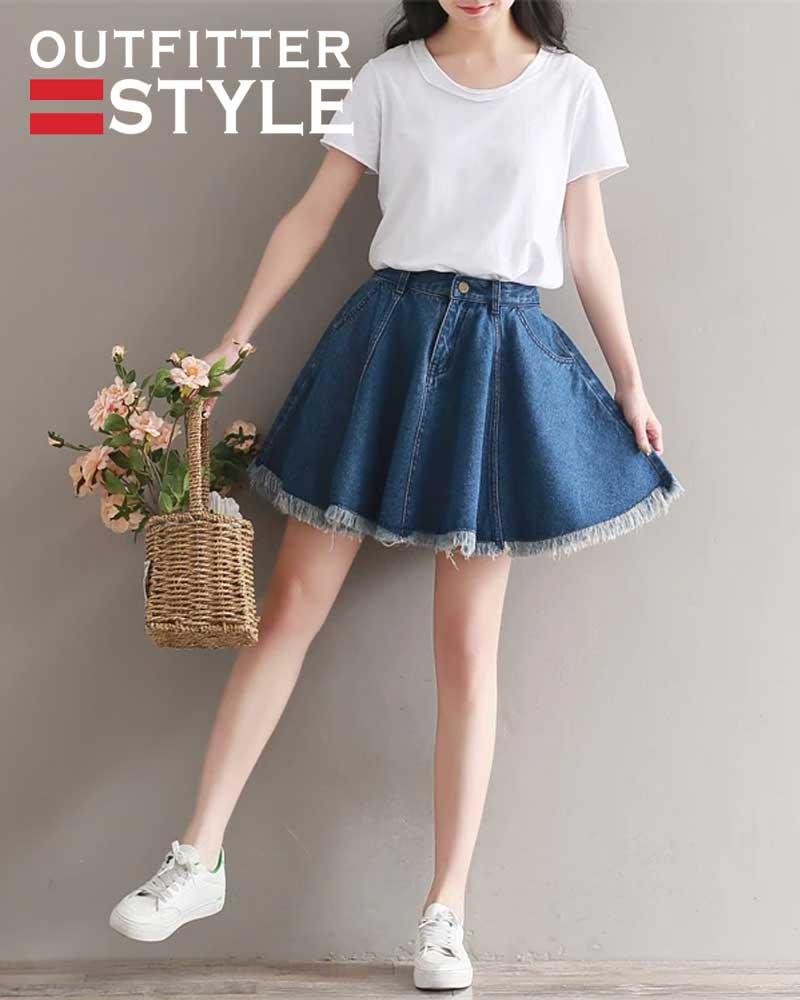 Denim Skater Skirts Shorts Women
