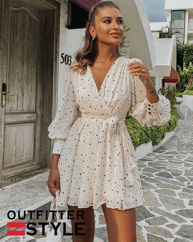 Dot Chiffon Dress Women Long Sleeve