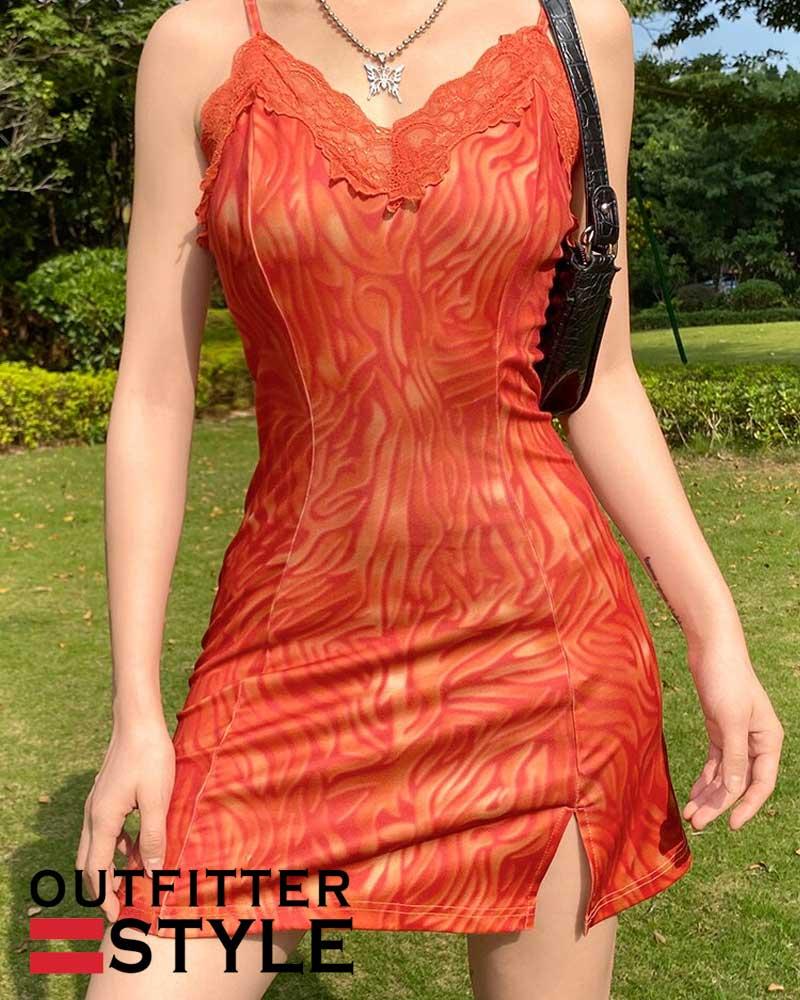 Dress Patchwork Lace Edge Cute