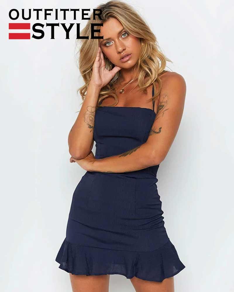 Elastic Waist Party Dress Female
