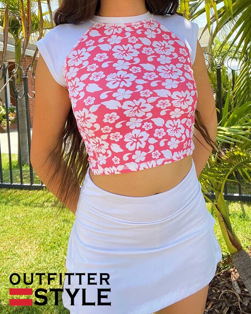 Fashion Pink Floral Print Cute