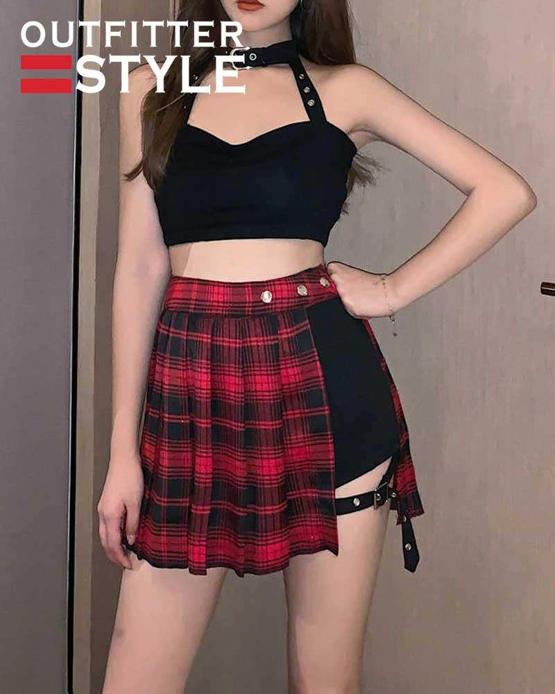 Fashion Tartan Red Pleated Skirts