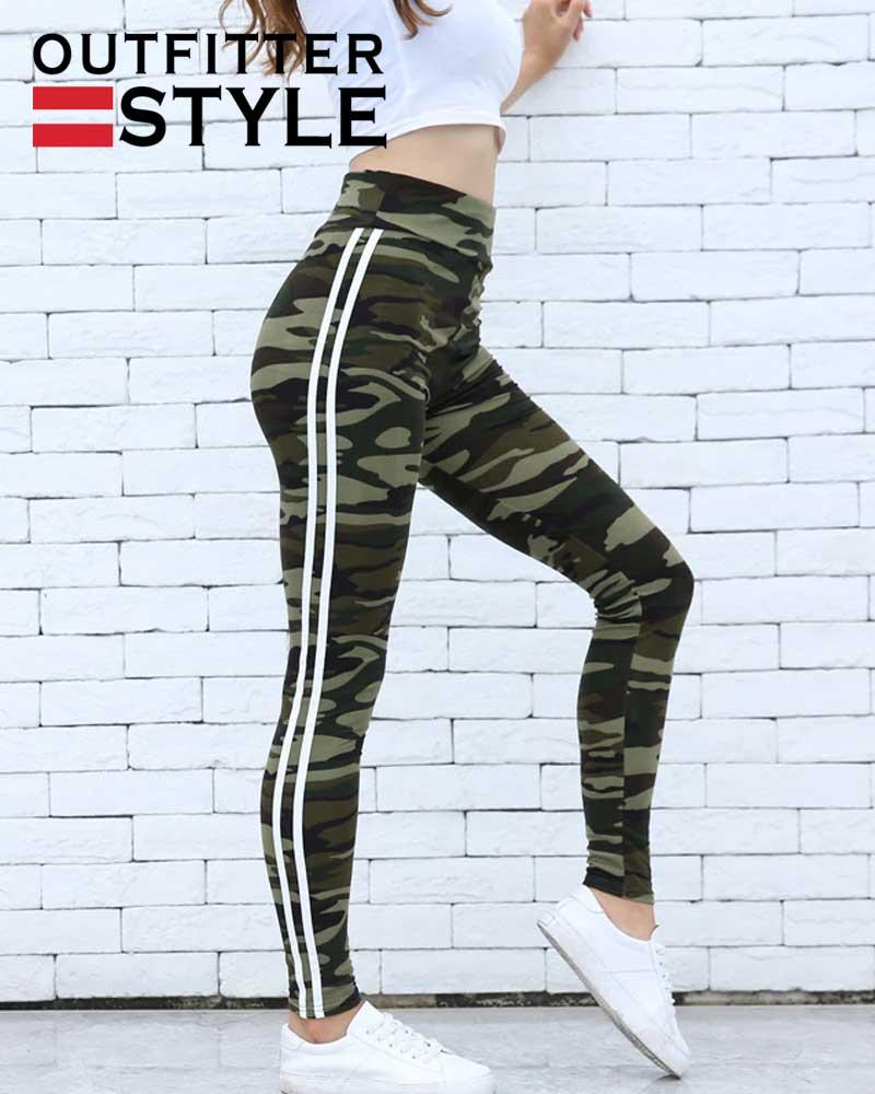 Fashion White Stripes High Waist Skinny