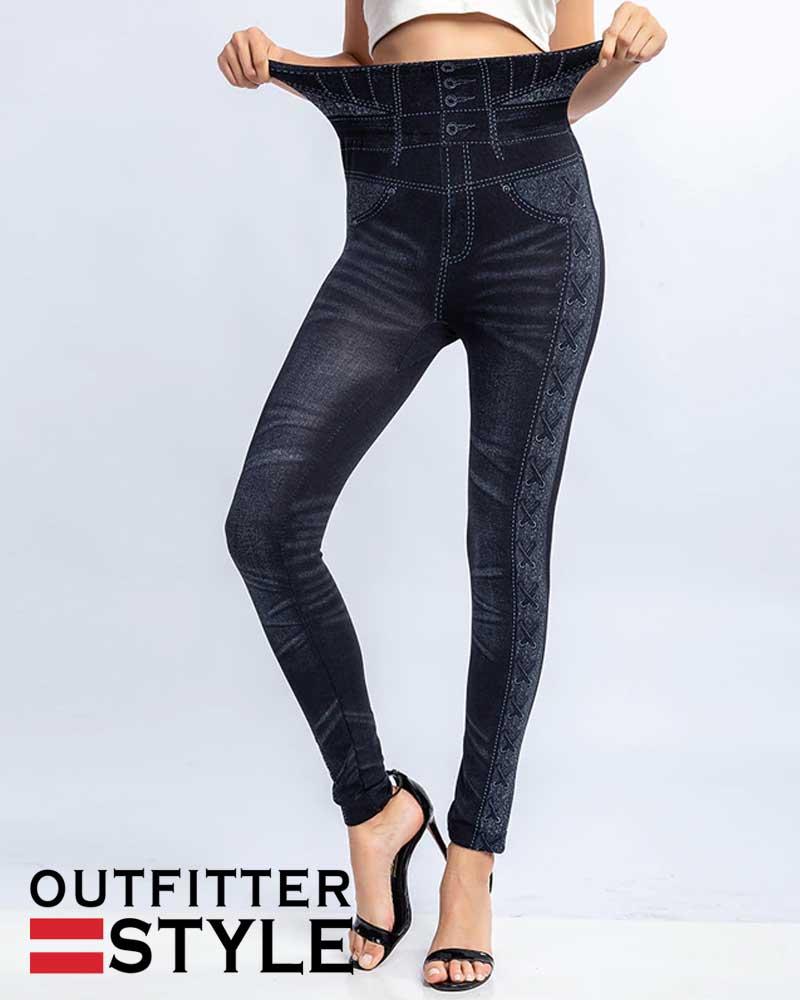 High Waist Warm Jeans Leggings Women