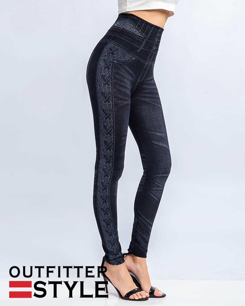 Jeans Leggings Women Spring Elastic Faux Denim