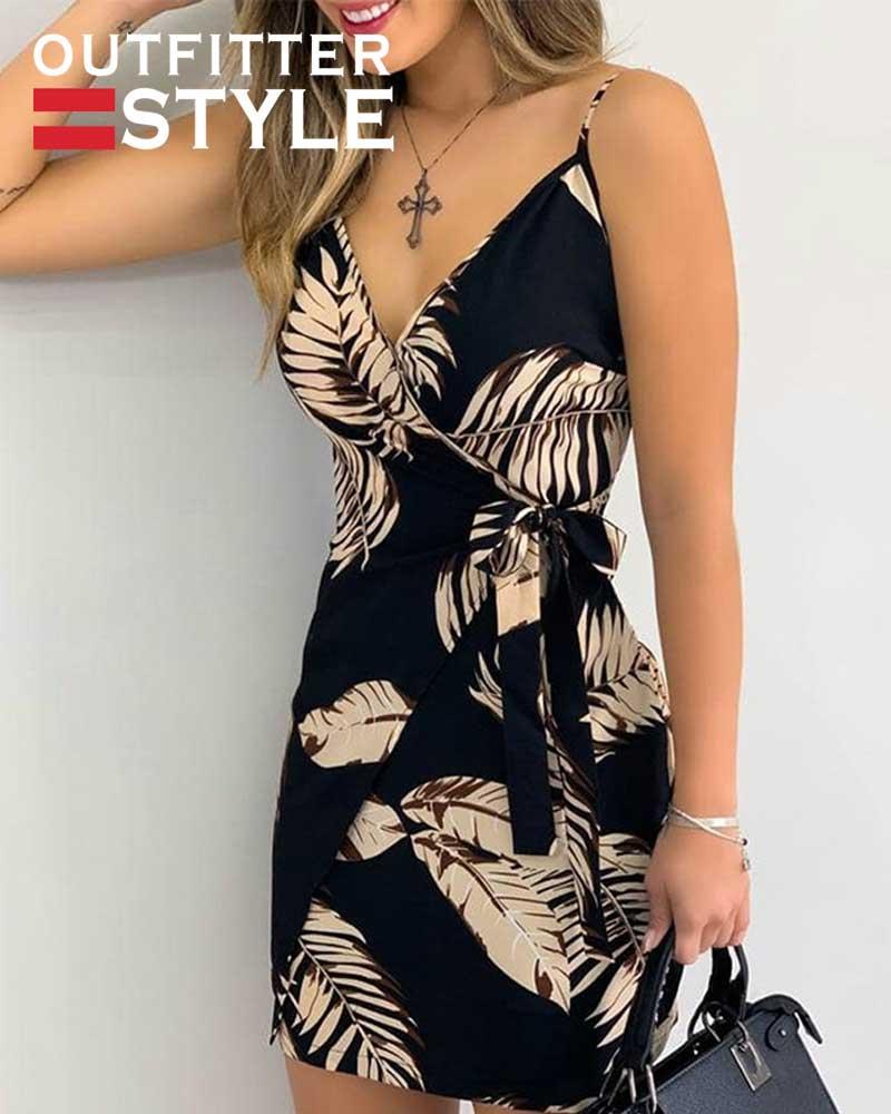 Leaves Print Bodycon V-neck Mini Dress