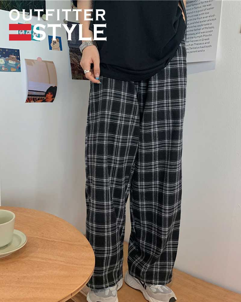 Leg Trousers Ins Retro Teens Straight Trousers