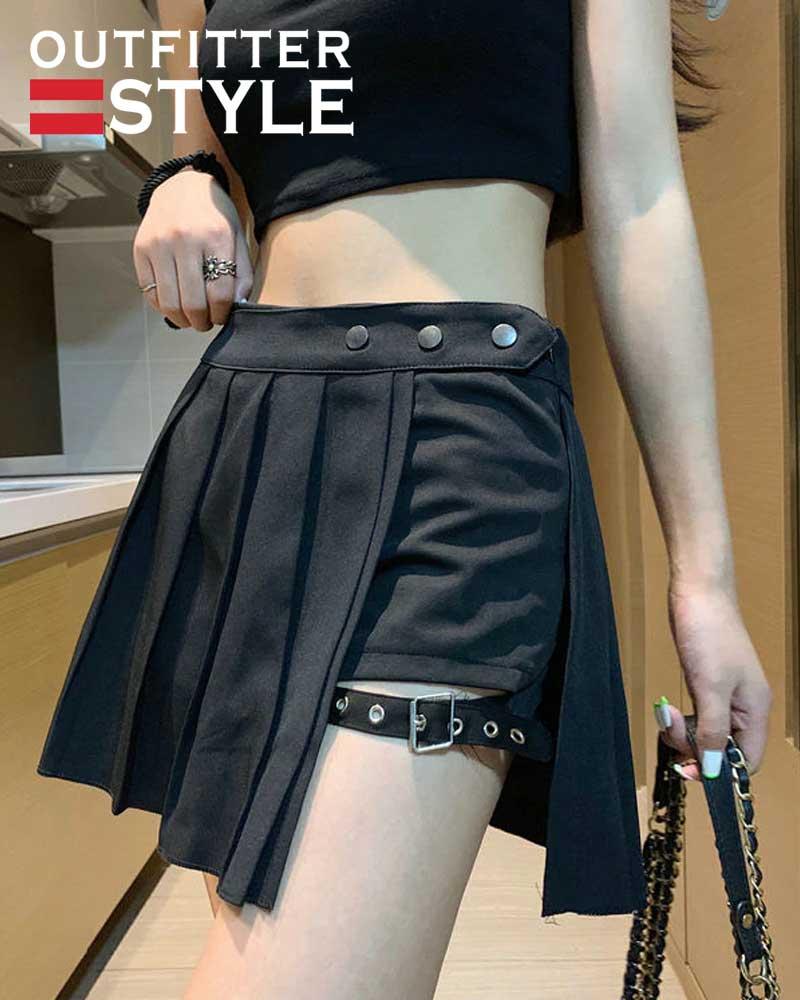 Pleated Skirts Streatwear Plaid Side