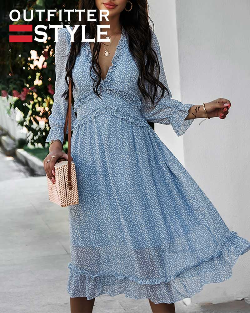 Ruffle Long Sleeve Women Dress