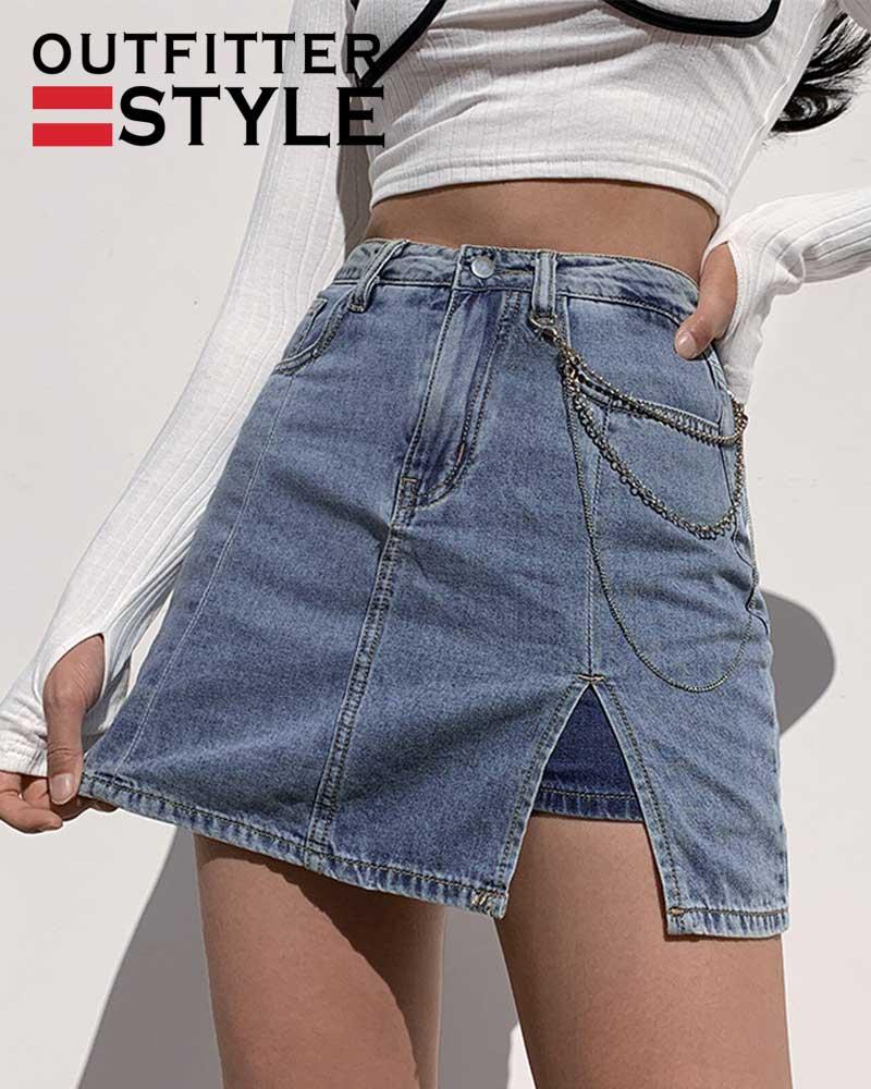 Sexy Split Bag Hip Thin Denim Mini Skirts Jean