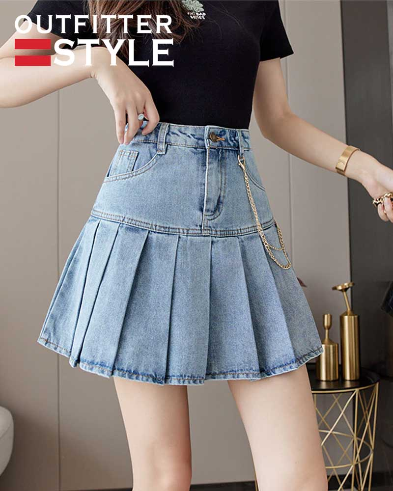 Short Denim Pleated Skirts