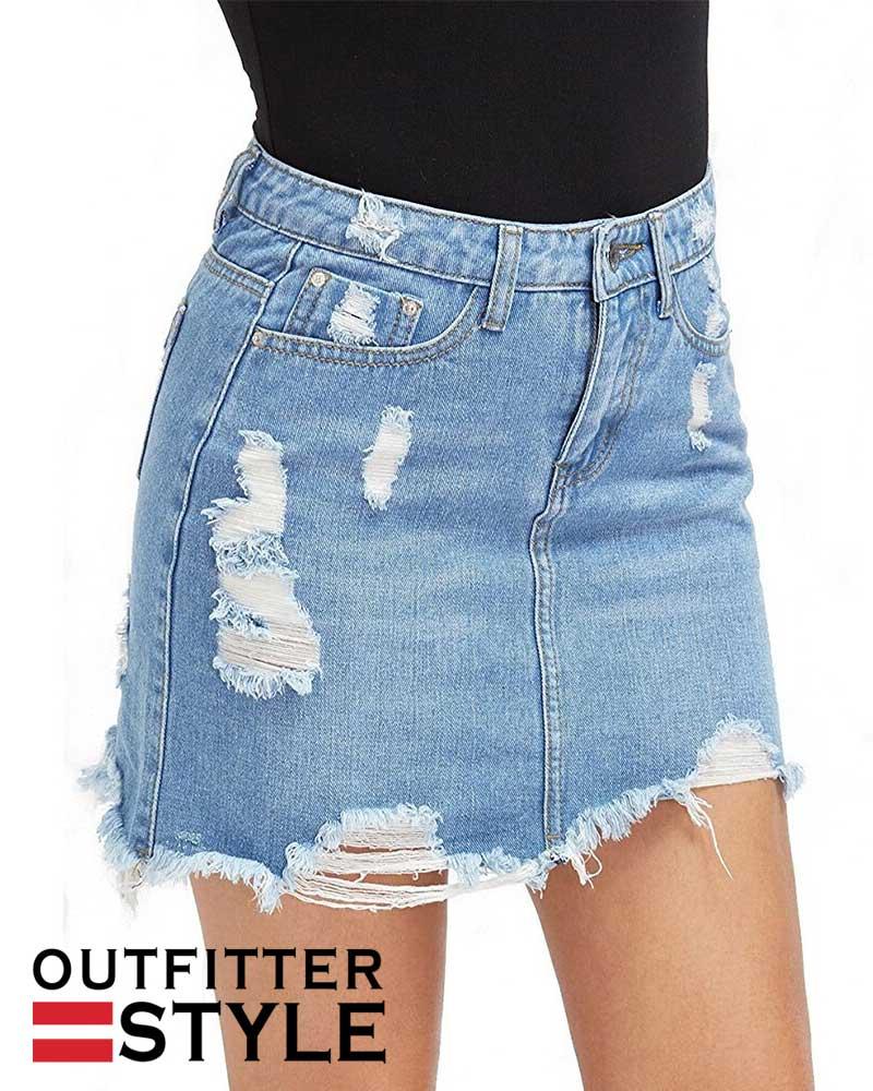 Skirt Basic Pocket Jeans Skirt Mid Waist