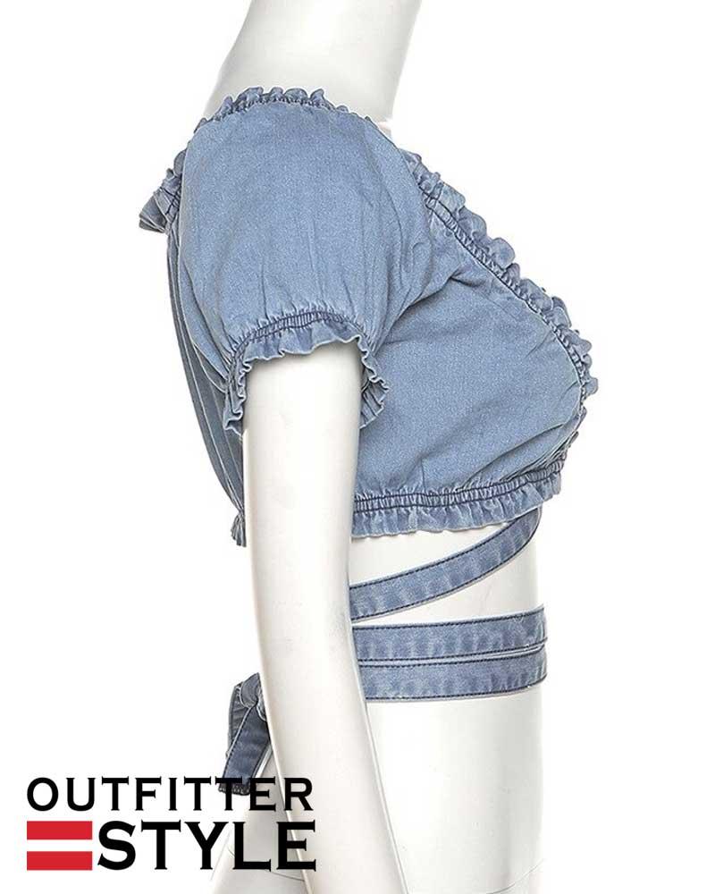 Streetwear Denim Bandage Crop Top