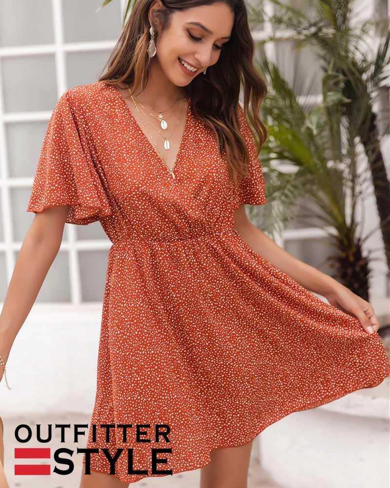 Summer Dress Women Casual V Neck Ruffles