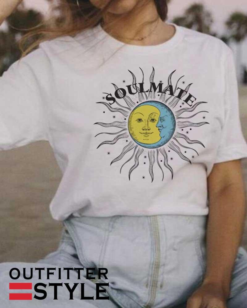 Sun Moon Soulmate Retro Style
