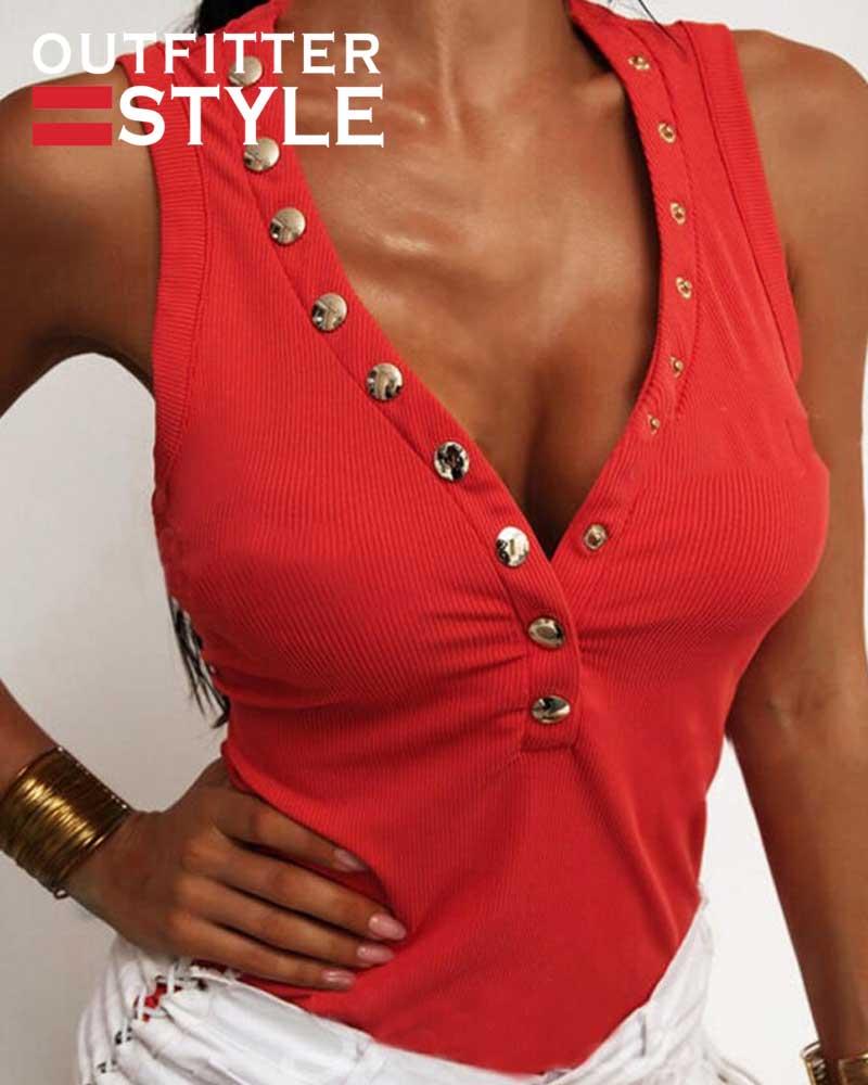Top Button Neckline Sleeveless
