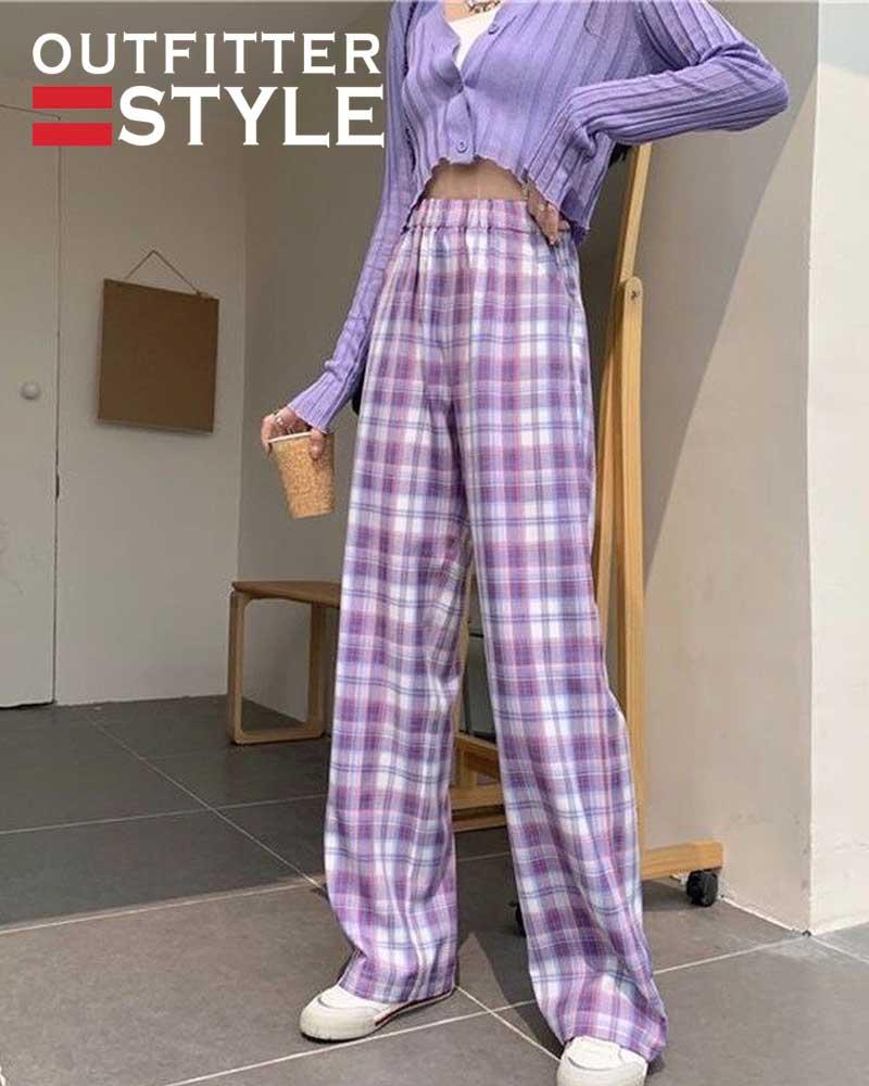 Vintage Plaid Pants Women Summer