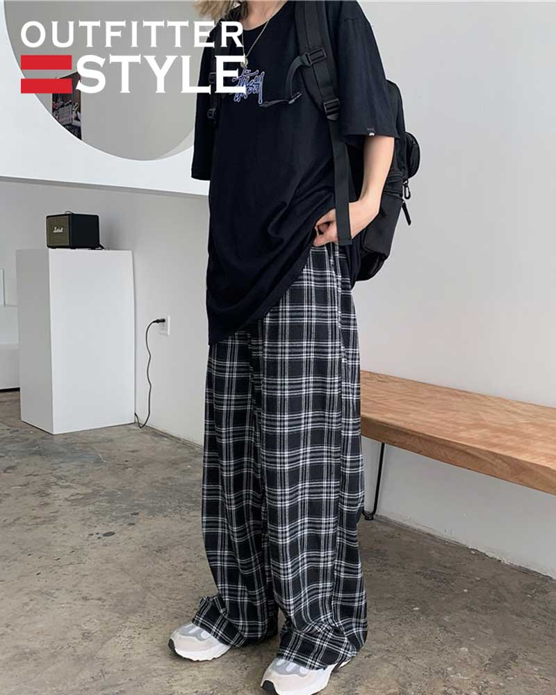 Wide Leg Checked Trousers Teens Straight