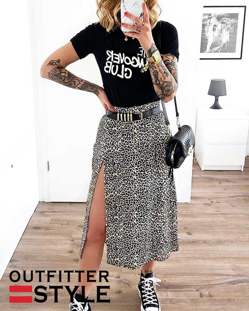 Women High Waist Elastic Split midi A- line Skirt