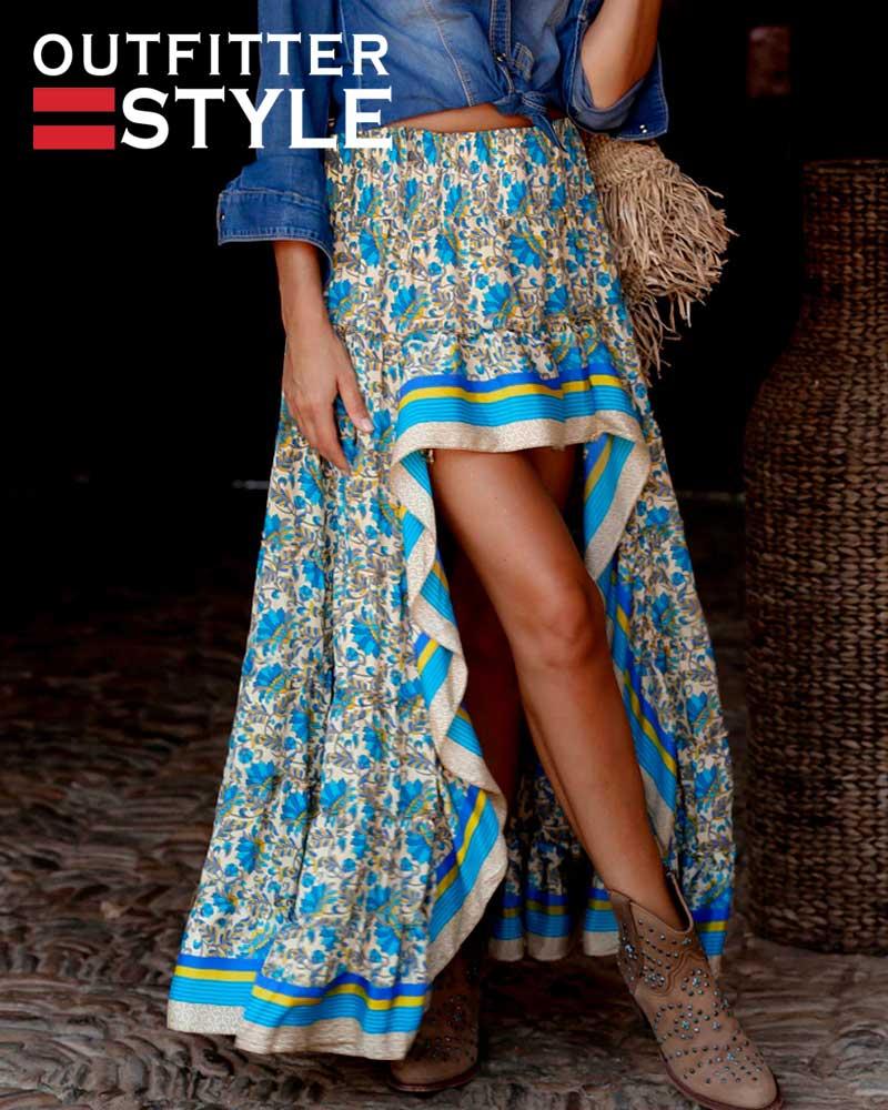 Women Irregular Maxi Skirt Floral Sexy