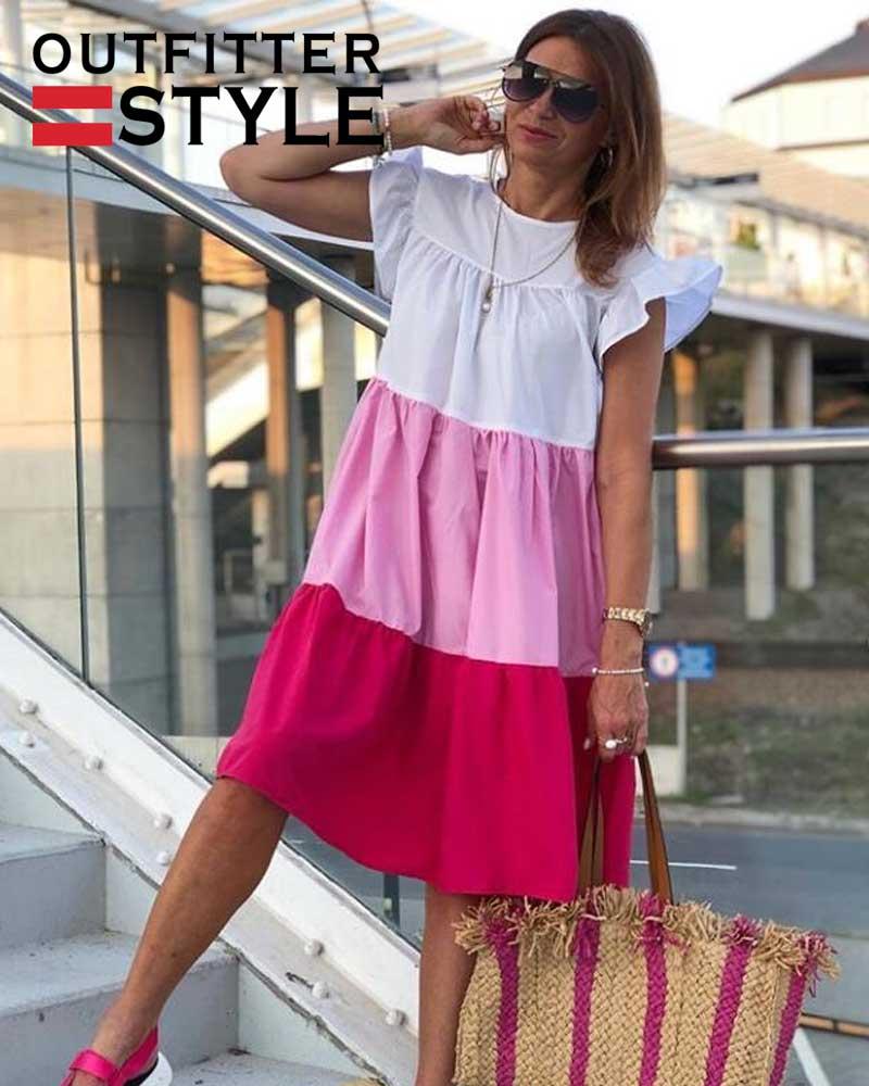 Women O Neck Half Sleeve Oversize Casual Midi Dresses
