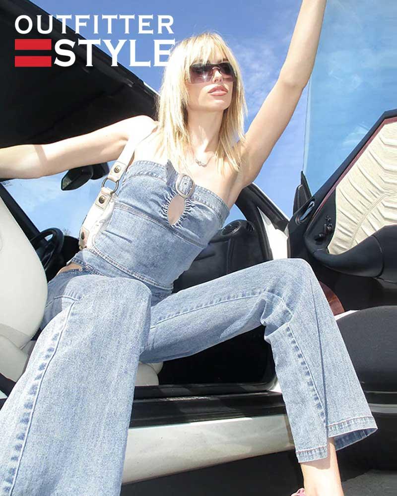 Women Tank Top Mini Jeans Skirt