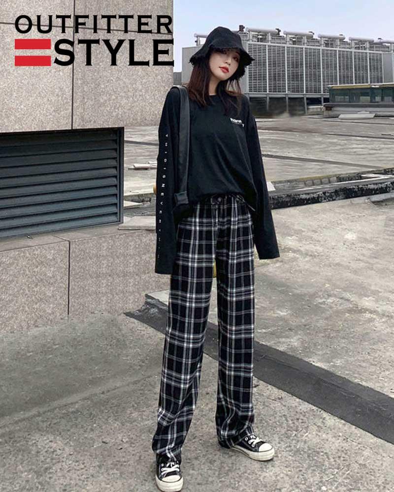 Women Thin Summer Plaid Pants Plus Size