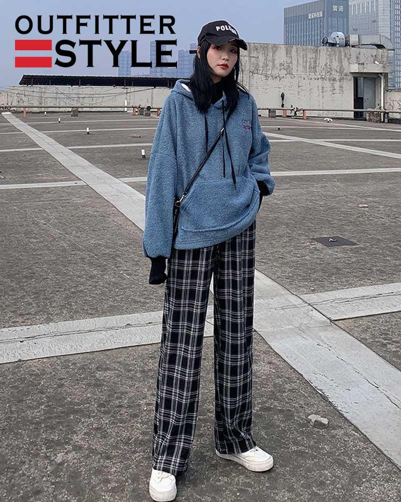 Women Trousers Oversized Checkered Pants High Waist