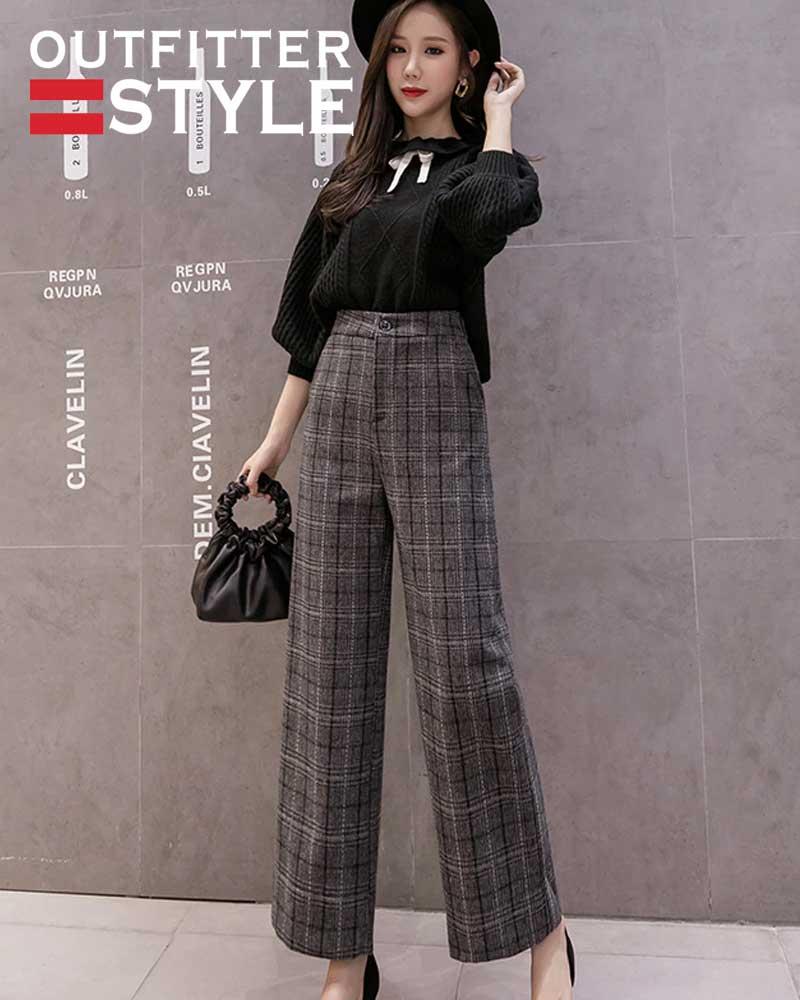 Woolen Plaid Pants Women Elastic High Waist