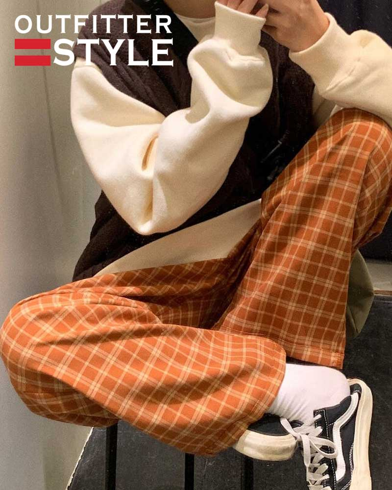 korean Clothing Harajuku Women Pants Plaid