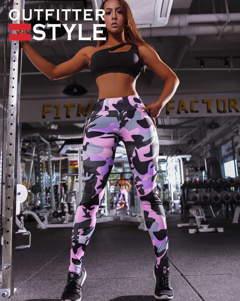 personality camouflage printing legging ladies fitness pants