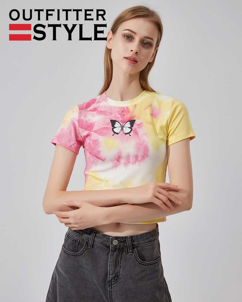 short sleeve sweater tie-dyed