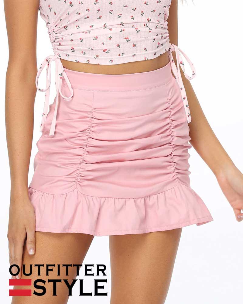 skirt falbala zipper skirts pure color drape