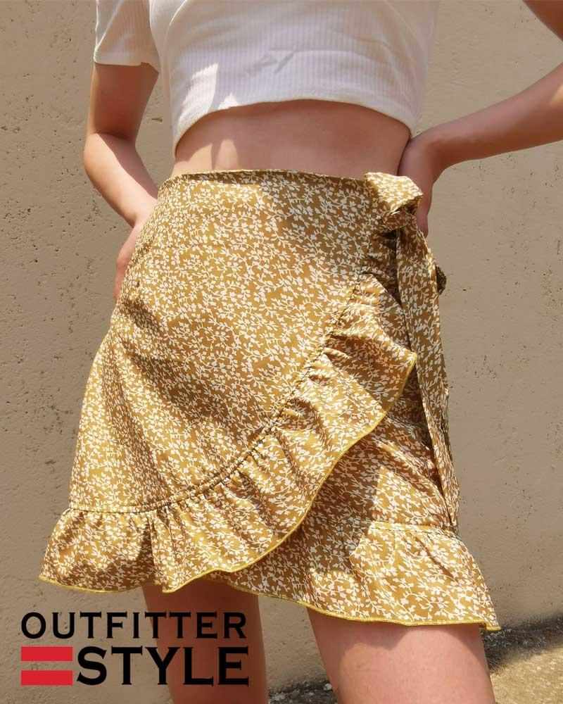 skirt tall waist falbala irregular