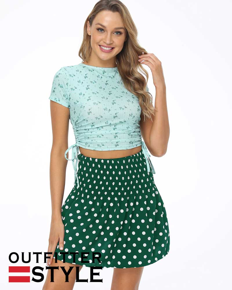 wave point print skirts womens